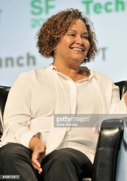 Apple Vice President of Environment Policy and Social Initiatives Lisa Jackson speaks onstage during TechCrunch Disrupt SF 2017 at Pier 48 on...