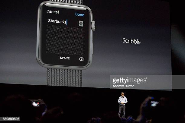 Apple Vice President of Technology Kevin Lynch introduces a new piece of iWatch software called 'Scribble' at an Apple event at the Worldwide...