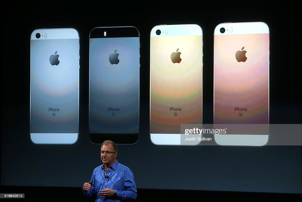 Apple VP Greg Joswiak announces the new iPhone SE during an Apple special event at the Apple headquarters on March 21, 2016 in Cupertino, California. The company is expected to update its iPhone and iPad lines, and introduce new bands for the Apple Watch.