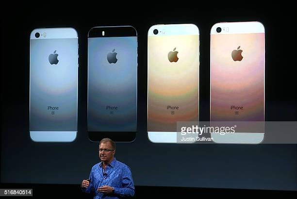 Apple VP Greg Joswiak announces the new iPhone SE during an Apple special event at the Apple headquarters on March 21 2016 in Cupertino California...