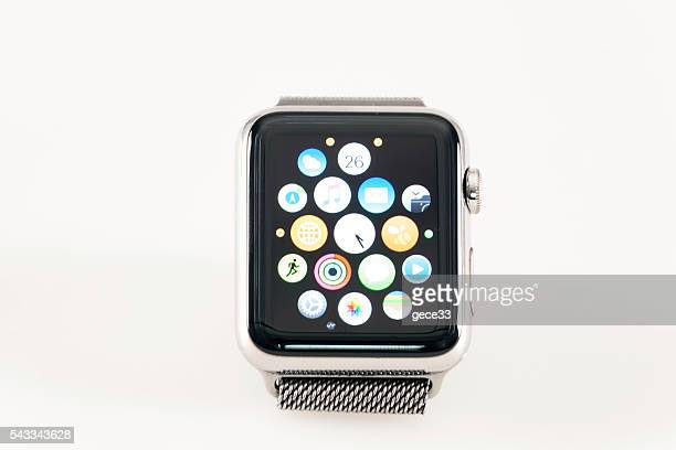 Apple Watch 42mm Stainless Silver White band