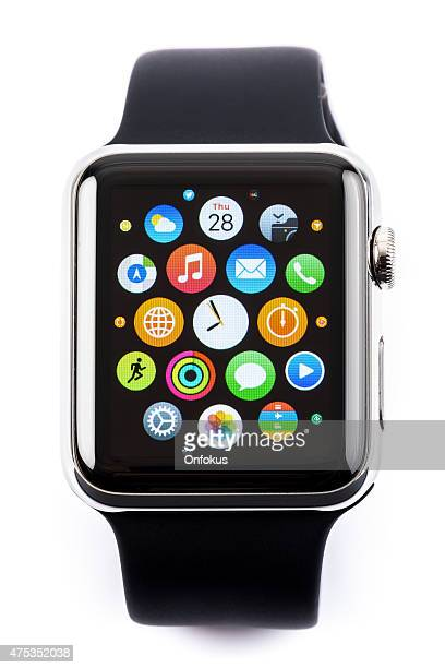 apple watch 42mm stainless steel with black sport band - apple watch stock pictures, royalty-free photos & images