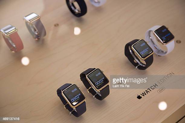 Apple Watch smartwatches displayed at an Apple Store in Central on April 10 2015 in Hong Kong Hong Kong Preorders for the Apple Watch are available...
