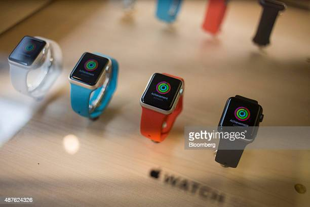 Apple Watch Sport devices are displayed at an Apple Inc store in New York US on Thursday Sept 10 2015 Apple Inc unveiled a wideranging lineup of new...