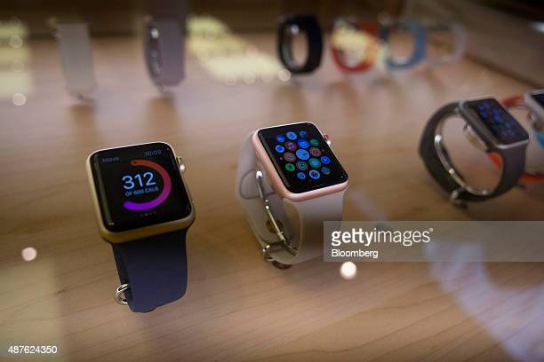 Apple Watch Sport devices in rose gold and gold finishes are displayed at an Apple Inc store in New York US on Thursday Sept 10 2015 Apple Inc...