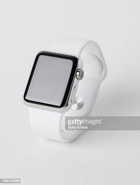 apple watch stainless still with white sport band - apple watch stock pictures, royalty-free photos & images