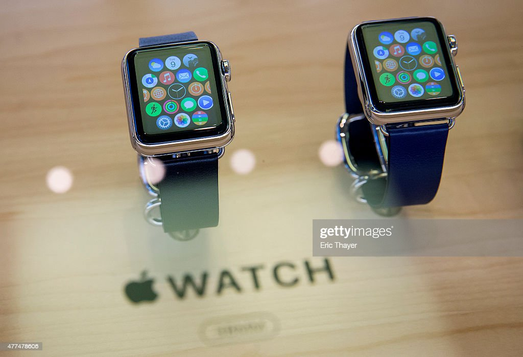 Apple Watches sit on display at the Apple Store on June 17, 2015 on Fifth Avenue in New York City. The company began selling the watch in stores Wednesday with their reserve and pick up service. Previously the product could only be ordered online.