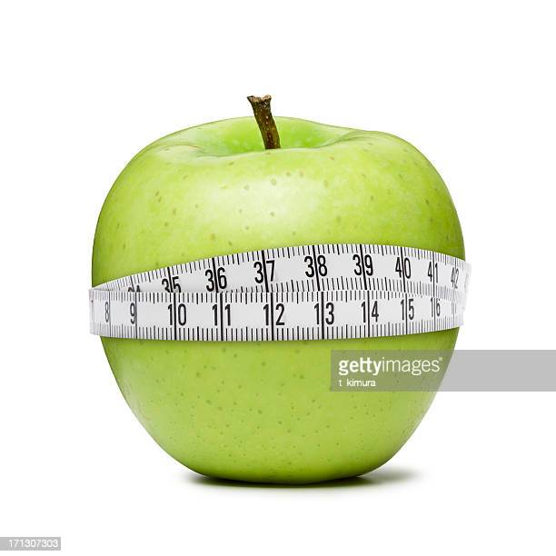 apple with a measuring tape