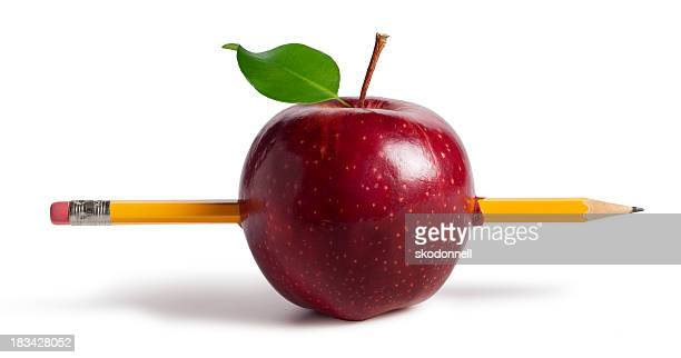 apple with a pencil through it - piercing stock photos and pictures