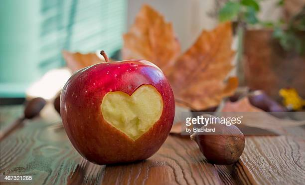 Apple with heart figure