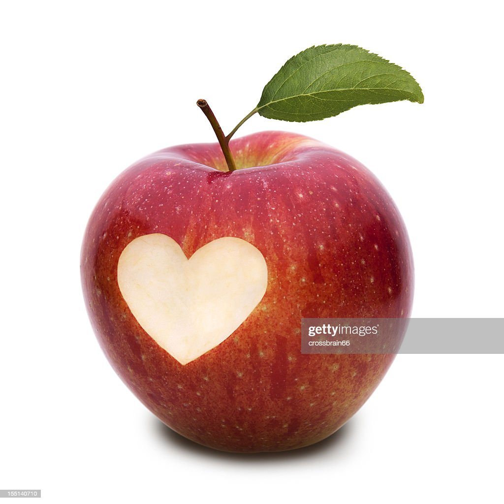 Apple with heart symbol and leaf stock photo getty images apple with heart symbol and leaf buycottarizona