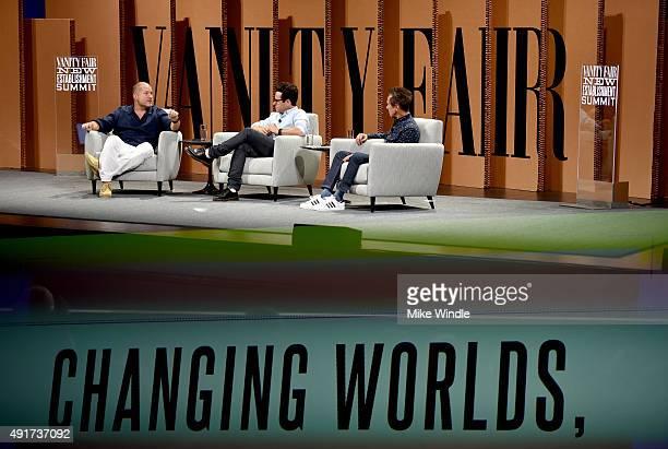 AppleChief Design Officer Jonathan Ive filmmaker J J Abrams and Imagine Entertainment CoFounder Brian Grazer speak onstage during Changing Worlds...