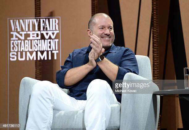 AppleChief Design Officer Jonathan Ive speak onstage during Changing Worlds Inventing Worlds at the Vanity Fair New Establishment Summit at Yerba...