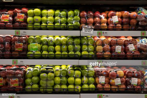Apples are wrapped in plastic at a supermarket on July 31 2017 in PattayaThailand Most plastic items like packaging tend to be used for very short...