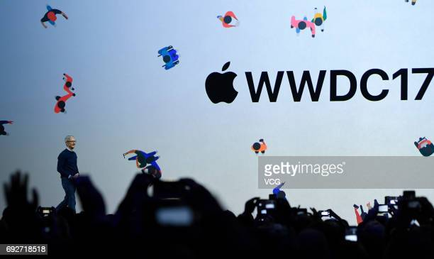Apple's CEO Tim Cook speaks during the opening keynote address the 2017 Apple Worldwide Developer Conference at San Jose Convention Center on June 5...