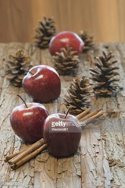 Apples, cinnamon sticks and pine cones for christmas on table