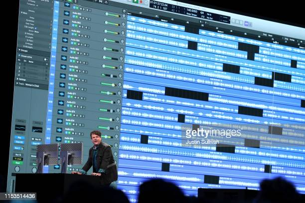 Apple's David Earl speaks during the 2019 Apple Worldwide Developer Conference at the San Jose Convention Center on June 03 2019 in San Jose...