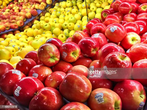 Apples for sale at a grocery store in Toronto Ontario Canada Food prices continue to rise in Canada meaning that more people are having to choose...