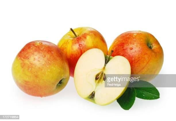 Apples + half Apple with Leaf