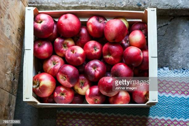 apples in crate - lagerhaltung stock-fotos und bilder