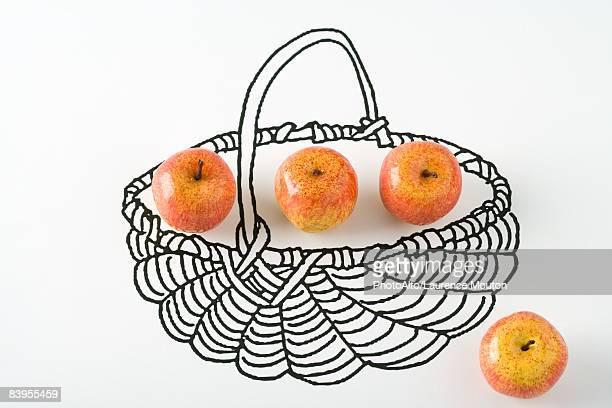 Apples in drawing of basket