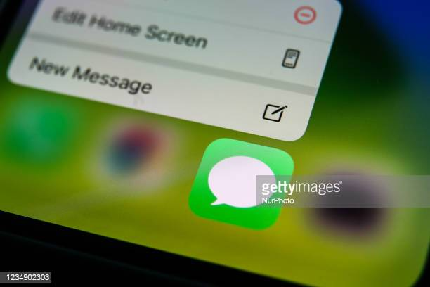 Apple's Messages icon displayed on a phone screen is seen in this illustration photo taken in Krakow, Poland on August 26, 2021.