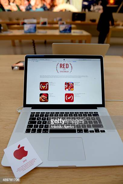 Apple's new campaign called RED is seen on the screen of a notebook in Istanbul Turkey on December 1 2014 Apple will be hosting a special section on...