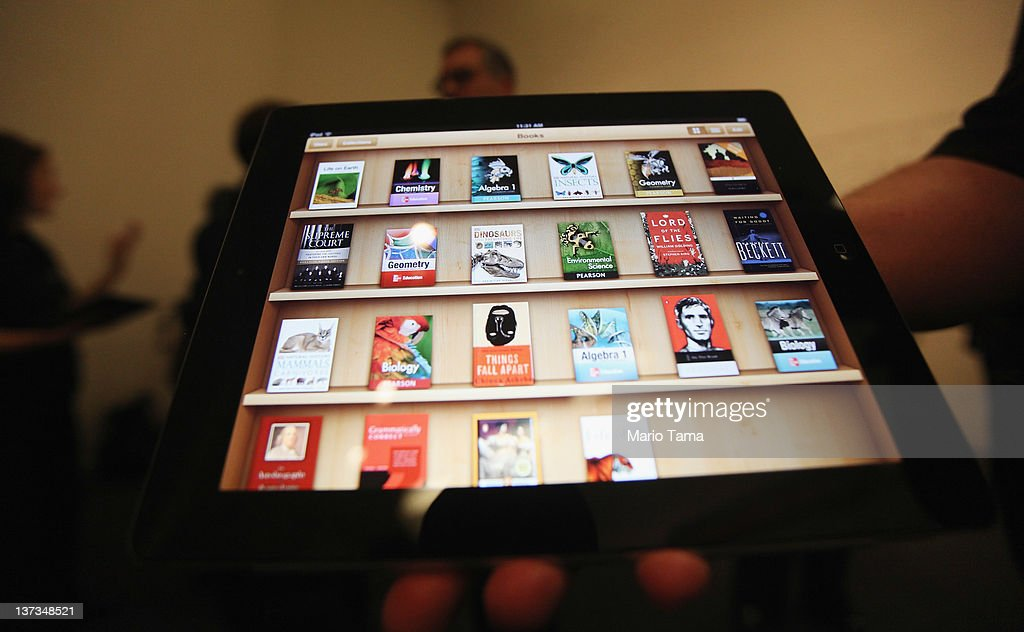 Apple's new iBooks 2 app is demonstrated for the media on an iPad at an event in the Guggenheim Museum January 19, 2012 in New York City. iBooks 2 is a new free app featuring iPad interactive textbooks. The company also announced iBook Author, an application to create digital textbooks, and iTunes U, an educational app for students and teachers.