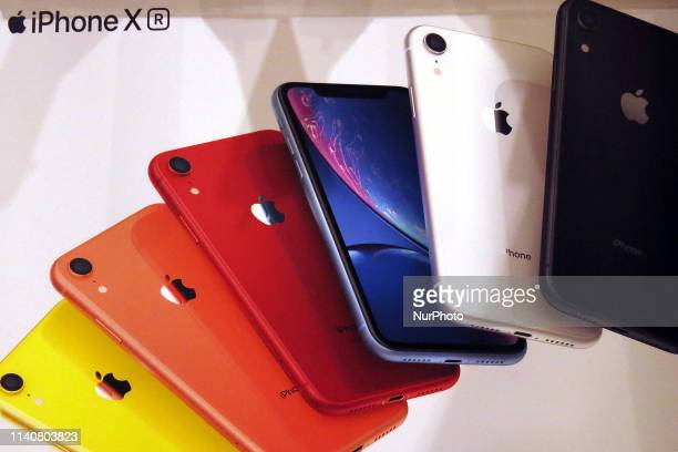 Apple's new iPhone XR are displayed after it went on sale at the Apple Store in Tokyo's Omotesando shopping district Japan May 2 2019