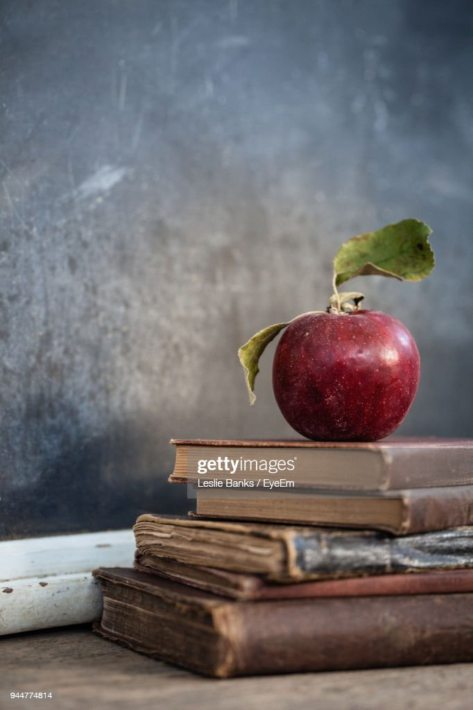 Apples On Stack Of Books : Stock Photo