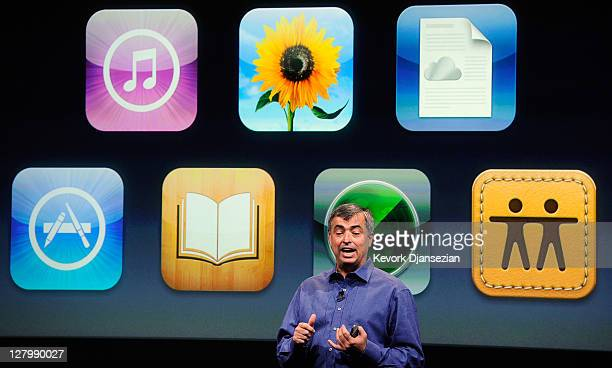 Apple's senior vice president of Internet Software and Services Eddy Cue speaks about iCloud during introduction of the new iPhone 4s at the...
