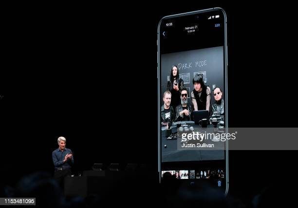 Apple's senior vice president of Software Engineering Craig Federighi speaks during the keynote address during the 2019 Apple Worldwide Developer...