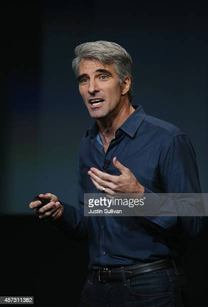 Apple's Senior Vice President of Software Engineering Craig Federighi speaks during an event introducing new iPads at Apple's headquarters October 16...