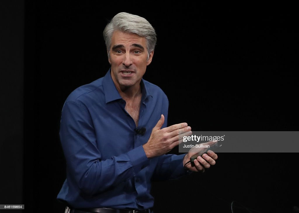 Apple's senior vice president of Software Engineering Craig Federighi speaks during an Apple special event at the Steve Jobs Theatre on the Apple Park campus on September 12, 2017 in Cupertino, California. Apple held their first special event at the new Apple Park campus where they announced the new iPhone 8, iPhone X and the Apple Watch Series 3.
