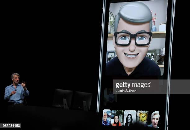 Apple's senior vice president of Software Engineering Craig Federighi demonstrates group FaceTime as he speaks during the 2018 Apple Worldwide...