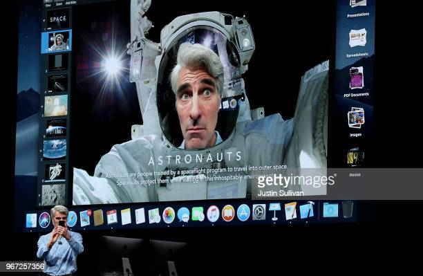 Apple's senior vice president of Software Engineering Craig Federighi speaks during the 2018 Apple Worldwide Developer Conference at the San Jose...