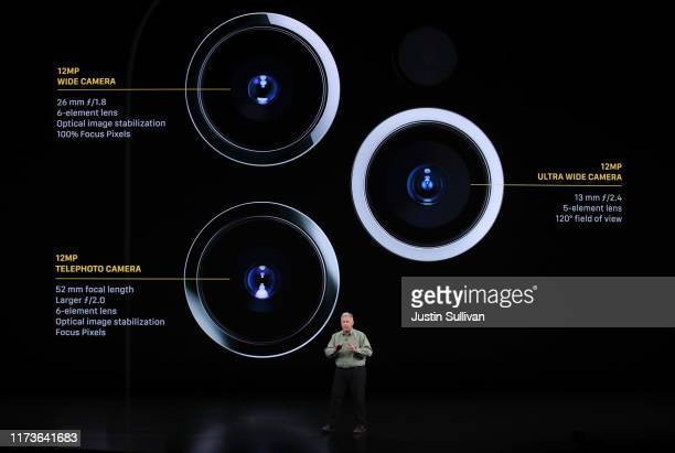 Apple's senior vice president of worldwide marketing Phil Schiller talks about the new iPhone 11 Pro during a special event on September 10 2019 in...