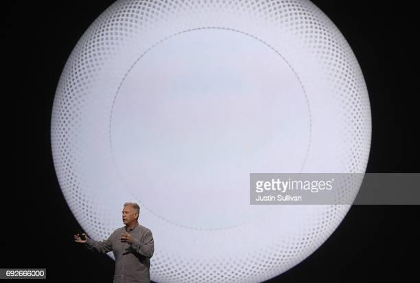 Apple's Senior Vice President of Worldwide Marketing Phil Schiller announces HomePod as he speaks during the opening keynote address the 2017 Apple...