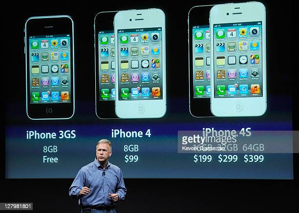 Apple's Senior Vice President of Worldwide product marketing Phil Schiller discusses the new iPhone 4s at the company's headquarters October 4 2011...