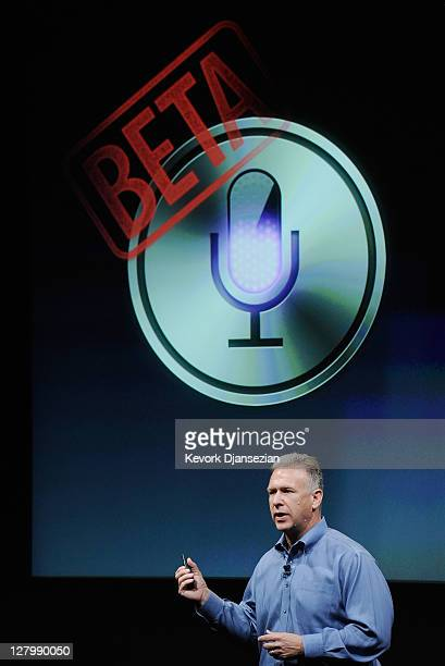Apple's Senior Vice President of Worldwide product marketing Phil Schiller speaks about the new voice recognition app called Siri during introduction...