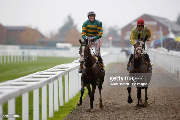 Apple's Shakira and Barry Geraghty return after winning The JCB Triumph Trial Juvenile Hurdle Race run during day two of the November Meeting at...