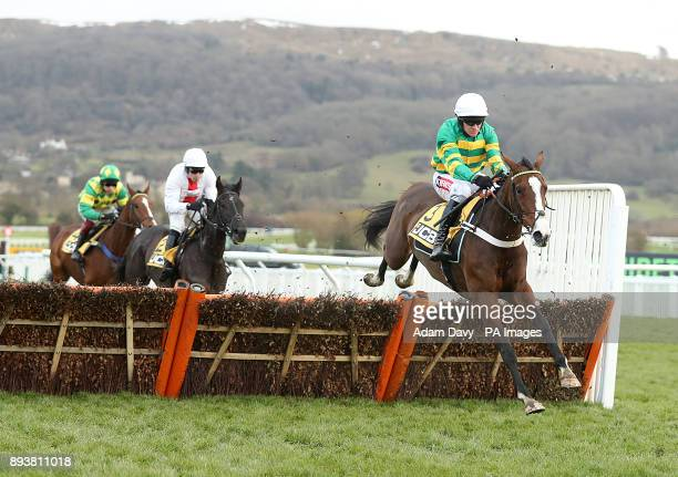 Apple's Shakira ridden by Barry Geraghty on his way to winning the JCB Triumph Trial Juvenile Hurdle Race during day two of The International meeting...