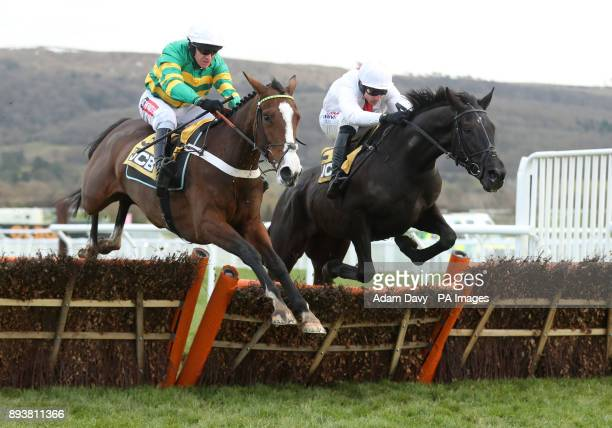 Apple's Shakira ridden by Barry Geraghty wins the JCB Triumph Trial Juvenile Hurdle Race from Nube Negra during day two of The International meeting...