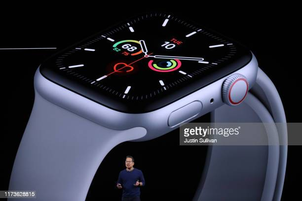 Apple's Stan Ng talks about the new Apple Watch series 5 during a special event on September 10, 2019 in the Steve Jobs Theater on Apple's Cupertino,...