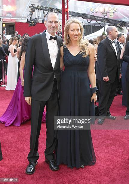 Apple's Steve Jobs and Laurene Powell arrive at the 82nd Annual Academy Awards held at Kodak Theatre on March 7 2010 in Hollywood California