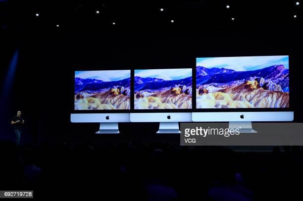 Apple's Vice President Hardware Engineering John Ternus speaks during the opening keynote address the 2017 Apple Worldwide Developer Conference at...