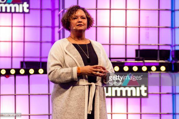 Apple's Vice President of Environment Policy and Social Initiatives Lisa Jackson speaks during the Web Summit 2018 in Lisbon Portugal on November 5...