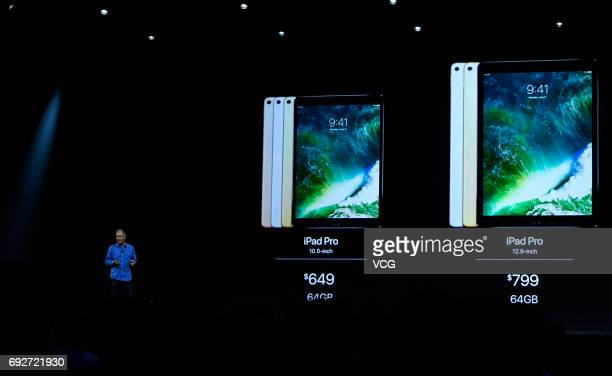 Apple's Vice President of iPod iPhone and iOS Product Marketing Greg Joswiak speaks during the opening keynote address the 2017 Apple Worldwide...
