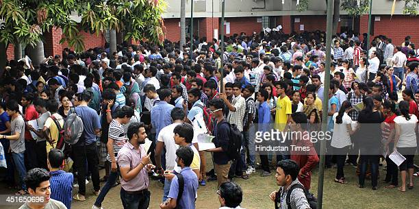 Applicants completing admission process at Shaheed Bhagat Singh College on the last day for admissions under the first cutoff list in Delhi...