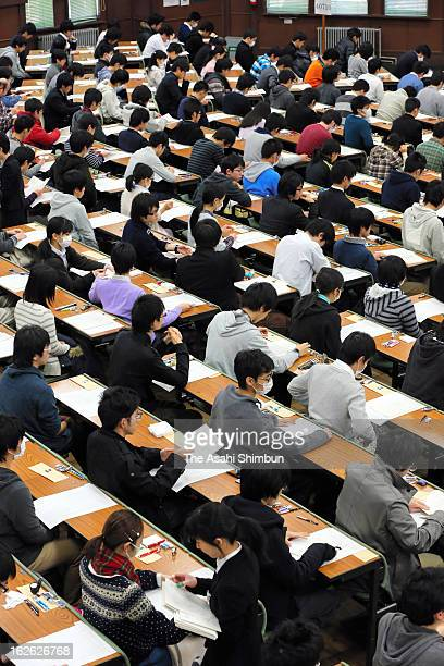 Applicants waits for the secondary exam begin at Tokyo University on February 25, 2013 in Tokyo, Japan. 260,000 applicants take the examination.